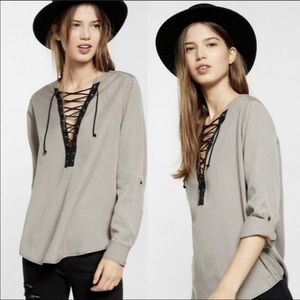 Express, Twill shirt with Black Lace Up Front. S